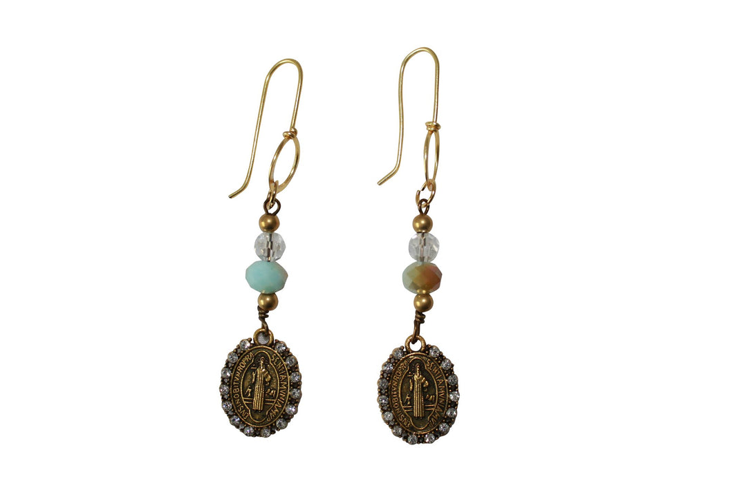 Chandelier Earrings with Crystal Beads Antique Saint Charm