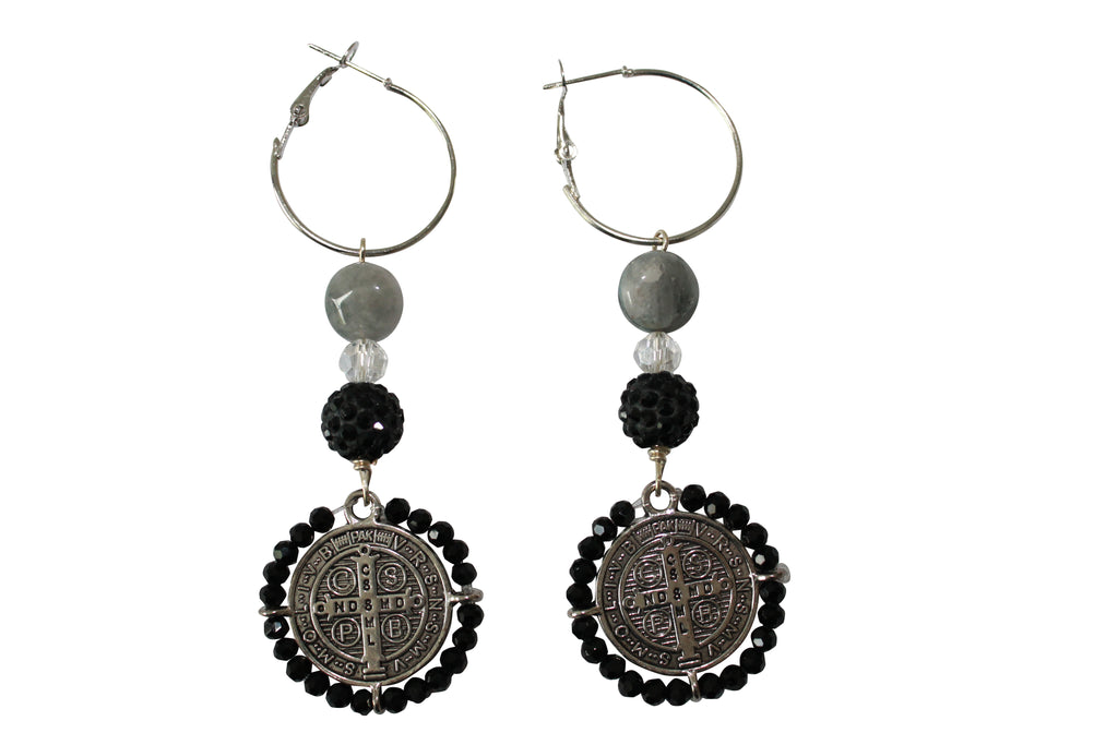 Chandelier Earrings Pave Crystal Beads Silver Hoop Saint Charm Jewelry