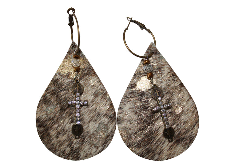 Gold Acid Hair Cowhide Earrings Cross Crystal Laser Cut Leather Jewelry
