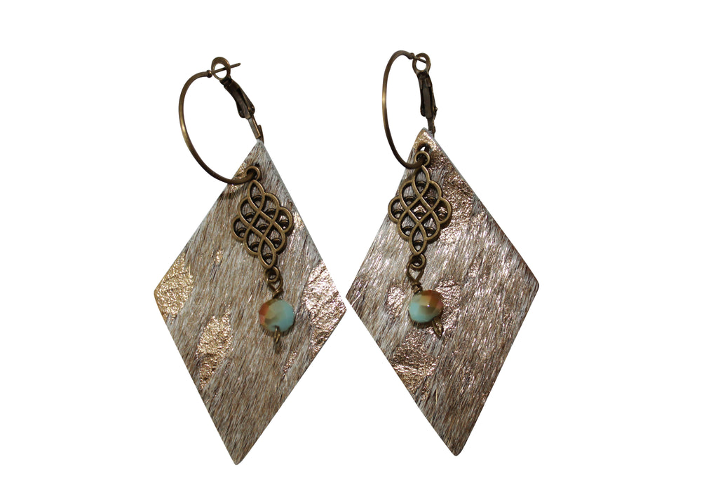Acid Hair Calf Leather Crystal with Antique Gold Charm Hoop Earrings