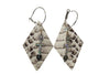 Python Laser Cut Leather Hoop Earrings Crystal Cross Silver Jewelry