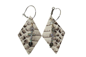 Python Laser Cut Leather  with Cross Charm Earrings