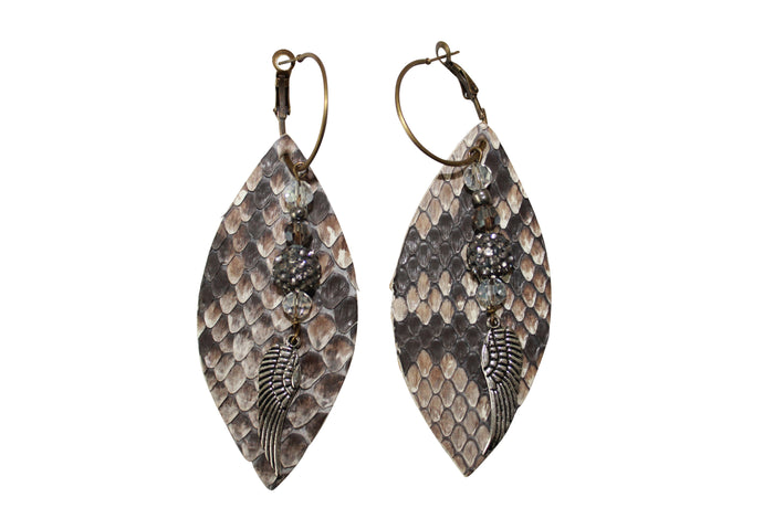 Angel Wing Pave Crystal Ball Python Snakeskin Leather Earrings Jewelry