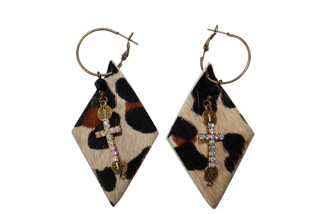 Animal Print Hair Calf Leopard Leather Crystal Cross Hoop Earrings