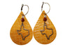 Laser Cut Leather earrings Texas Charm Cowhide Jewelry Hoop Earrings