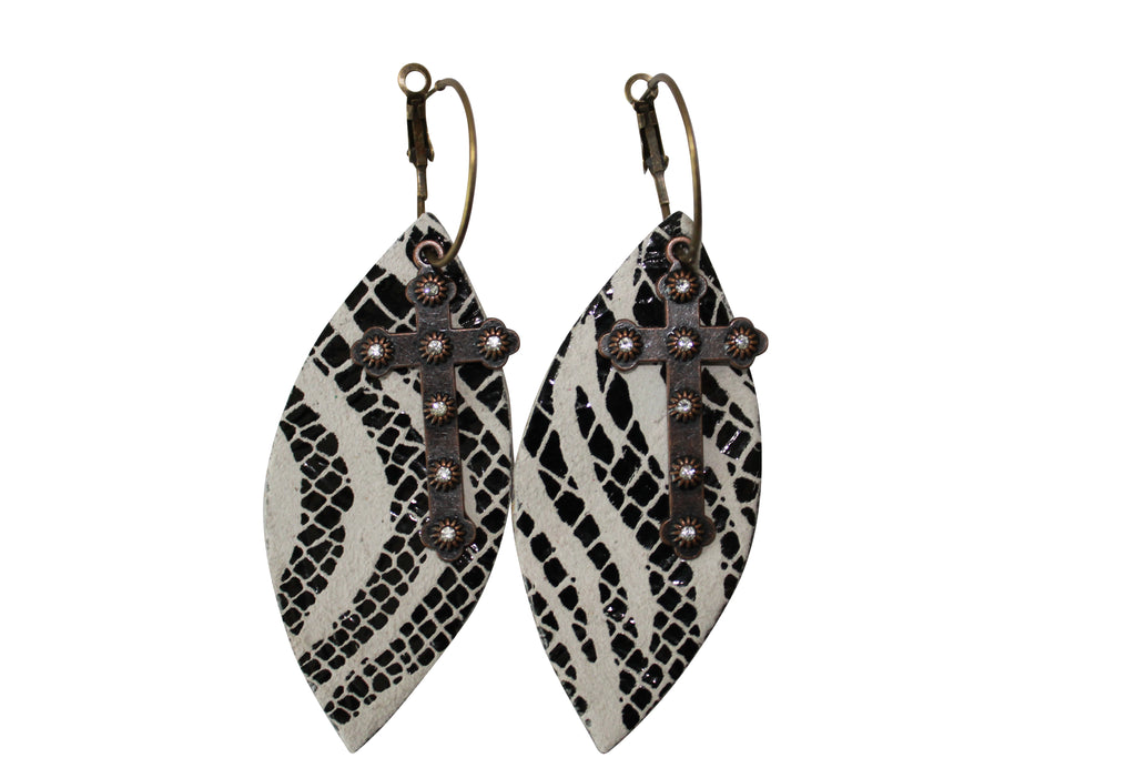 Zebra Leather Cut Out Earrings Antique Cross Hoops Jewelry Animal Print