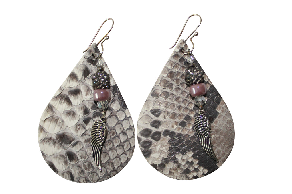 Python Leather Pave Crystal Ball Angel Wings Silver Snakeskin Earrings Jewelry