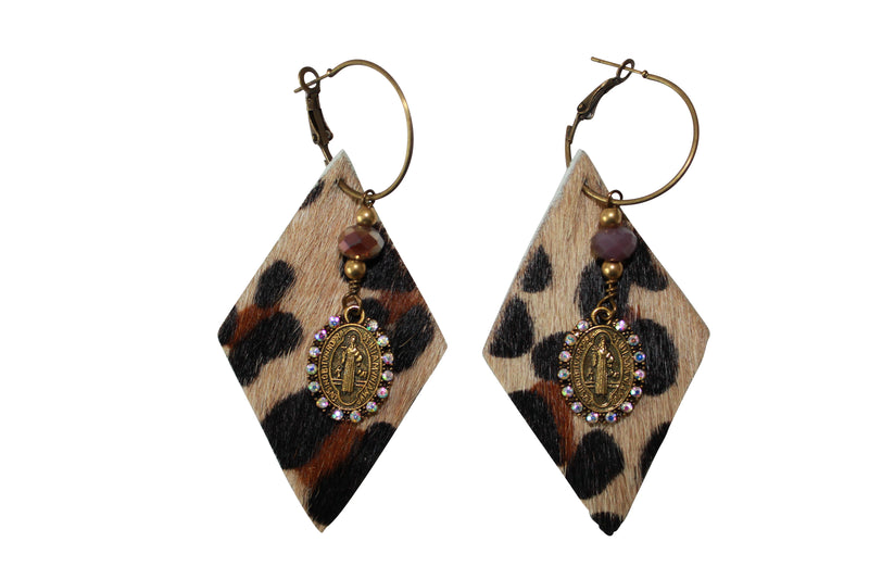 Leopard Hair Calf Die Cut Earrings Animal Print Cowhide Saint Charm Jewelry