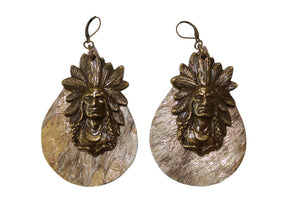 Gold Acid Leather Cowhide with Antique Gold Chief Charm Earrings