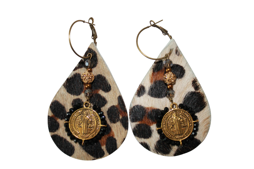 Cowhide Animal Print Leopard Hair Calf Leather Pave Gold Crystal Ball Hoop Earrings