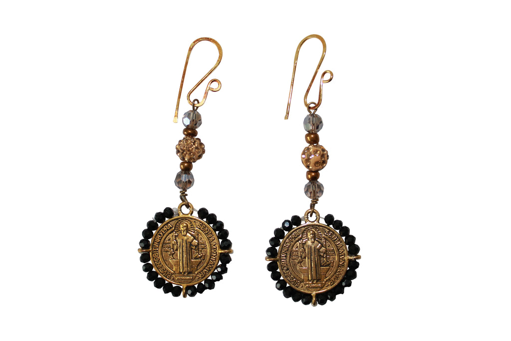 Gold Chandelier Earrings Pave Crystal Beads Saint Charm Gold Filled Jewelry