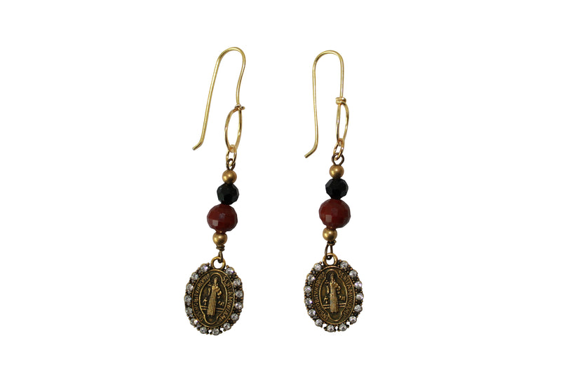 Gold Filled Chandelier Earrings with Crystal Beads Antique Saint Charm Jewelry