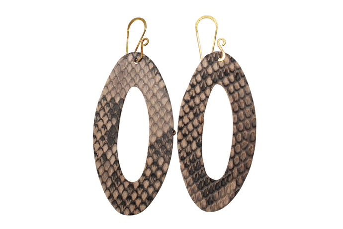 Cut Out Snakeskin Earrings Die Cut Python Leather Jewelry Gold Filled