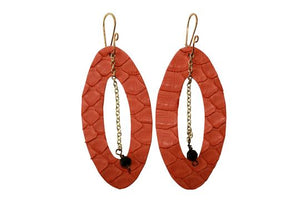 Die Cut Python with Gold Chain Earrings