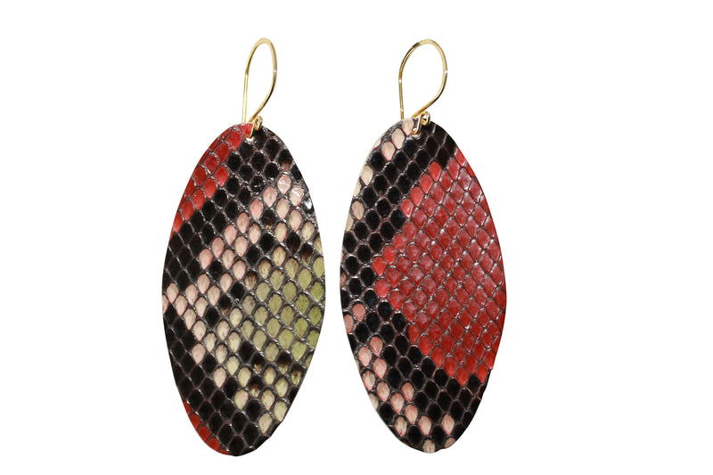 Die Cut Python Gold Filled earrings Multi-color Snake Jewelry