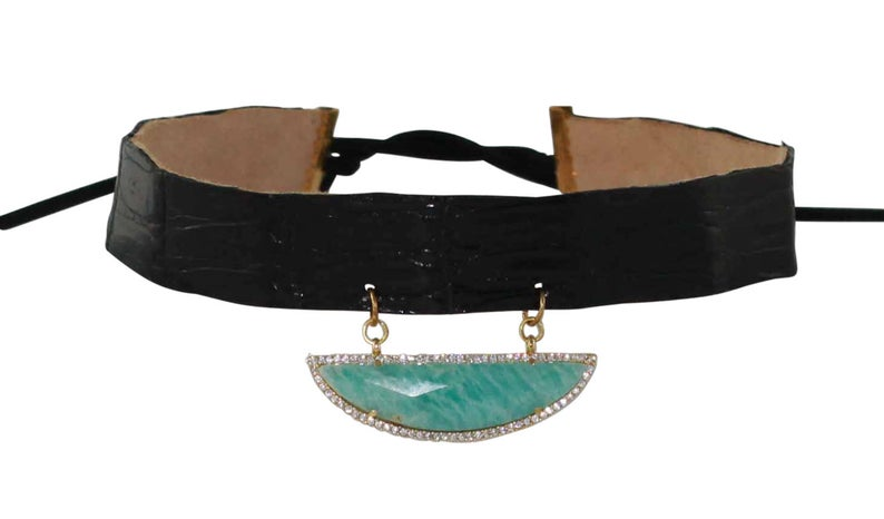 Black Crocodile Leather Necklace with Crystals
