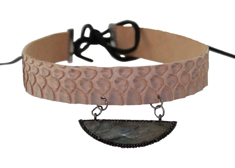 Python Taupe Choker with Natural Druzy Stone