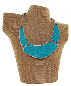 Crocodile Leather Turquoise Necklace