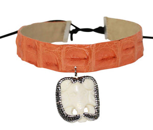 Crocodile Leather with Onyx Stone Choker