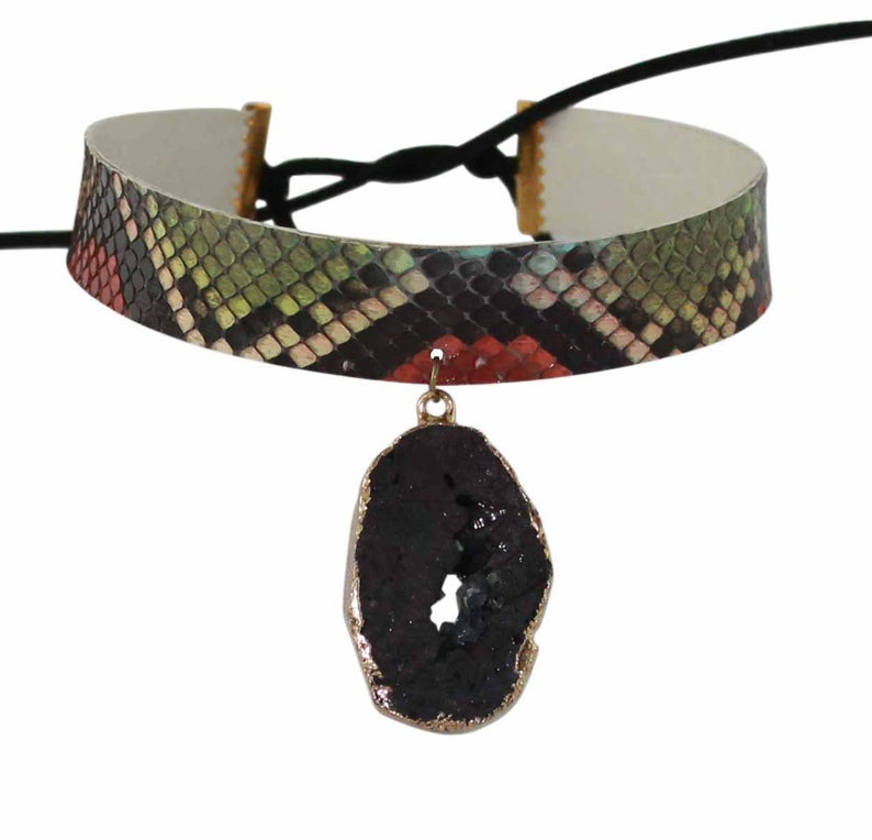 Python Multicolor Choker with Natural Druzy Stone