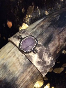 Gray White Python Leather with Natural Purple Stone