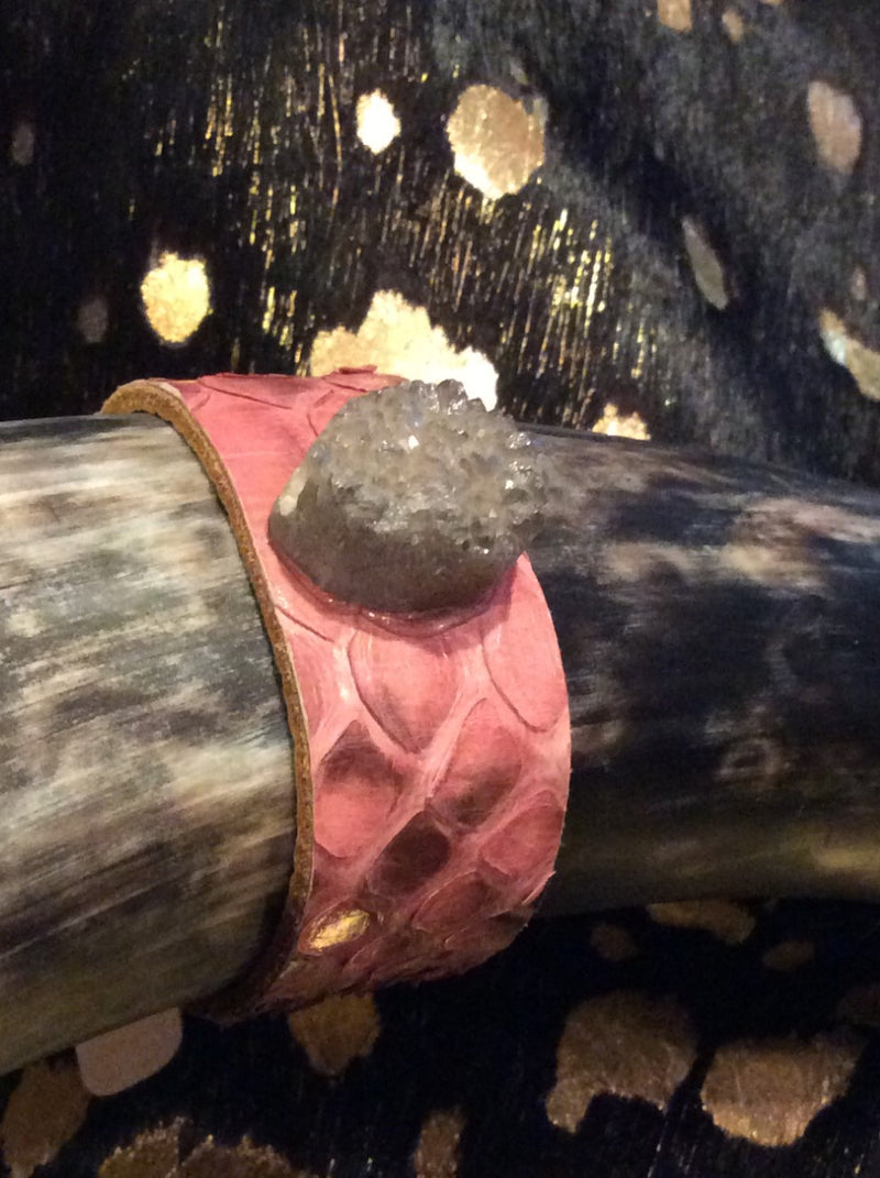 AUDISH Python Leather Cuff Pink Snake Skin Bracelet with Natural Stone Druzy Jewelry,Woman's, Cuff, Bangle, Bracelet, Wrap