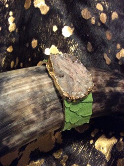Gold Leaf Druzy Python Cuff Bracelet Snake Leather Wrap Green