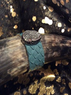 AUDISH Turquoise Python Leather Cuff Snake Skin Bracelet with Natural Stone Silver Druzy Embellished with Crystals. Jewelry,Woman's, Cuff, Bangle, Bracelet, Wrap