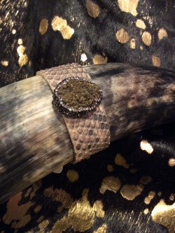 Gold Druzy w/crystals python cuff leather wrap bracelet