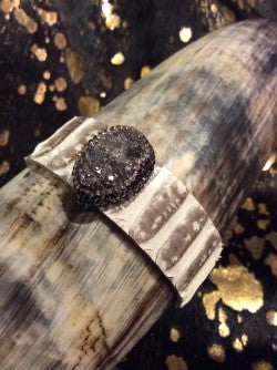 Pink Snake Bracelet with Silver Druzy and Crystals Cuff Leather Wrap