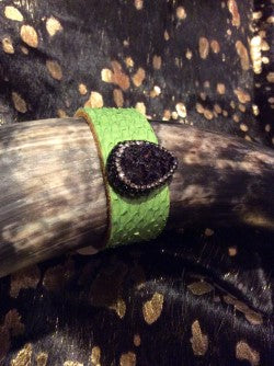 Genuine Croco Purple Bracelet Leather Cuff Jewelry Druzy w/charm