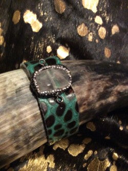 Croc Cuff Turquoise Crocodile Leather Bracelet Jewelry  AUDISH Embossed Crocodile Leather Turquoise Cuff Bracelet with Natural Stone Embellished with Crystals, Jewelry,Woman's, Cuff, Bangle, Bracelet, Wrap