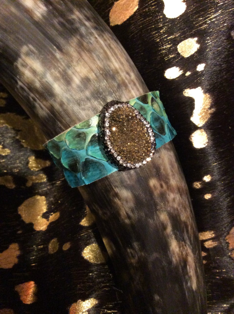 Turquoise Python Cuff Snake Bracelet Leather Jewelry Leather Gold Druzy  AUDISH Python Leather Cuff Multi-color Turquoise Snake Skin Bracelet with Gold Druzy Natural Stone Embellished with Crystals, Jewelry,Woman's, Cuff, Bangle, Bracelet, Wrap