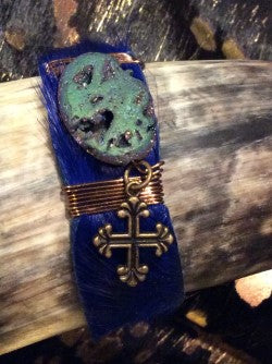 Gazelle Leather with Blue Druzy Natural Stone Cross Charm