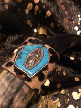 Acid Hair Calf Bracelet Turquoise Leather Jewelry Cowhide Cuff Crystals