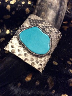Natural Python Bracelet Leather Cuff Turquoise Crystals Snake Jewelry