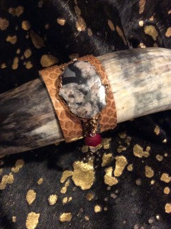 Python Skin Leather Cuff Bangle Snakeskin Bracelet Pearl Crystal Jewelry