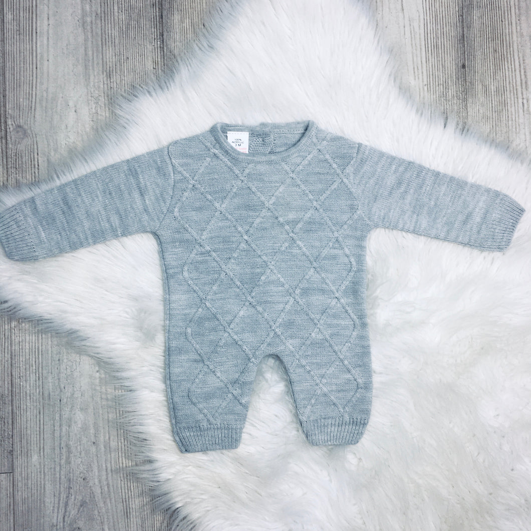 Grey knitted diamond romper