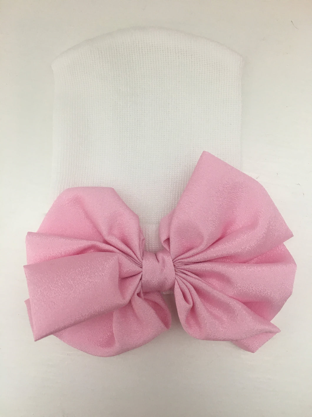 White with pink satin bow Newborn Oversized Bow Hat