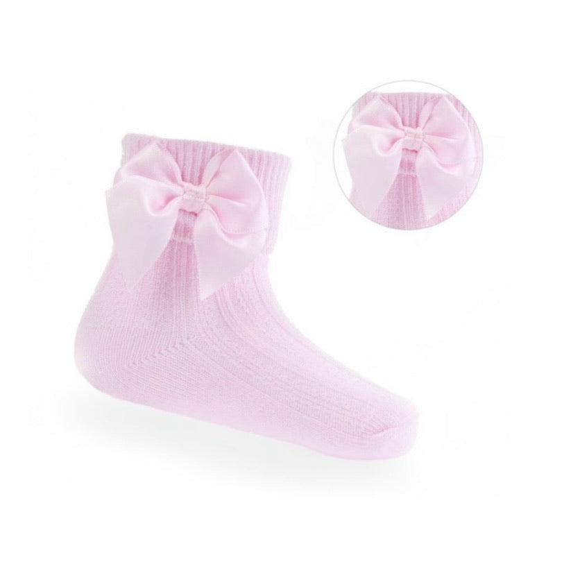 Pink bow ankle sock