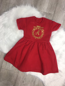 Personalised Christmas Wreath and Initial Dress