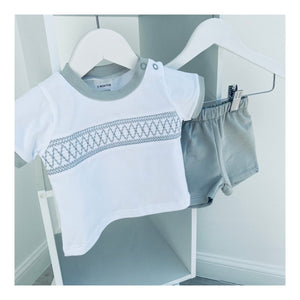 Grey baby boy smocked short set