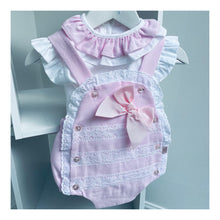 Baby girl two piece pink bow romper