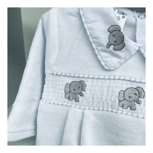 Unisex white velour baby grow