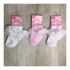 Baby frilly bow ankle socks
