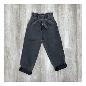 Dark grey denim paper bag waist jeans