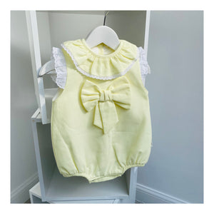 Baby girl lemon bow romper