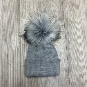 Grey Single Pom Pom Hat