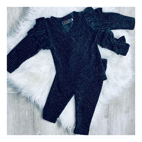 Black velour glitz 3 piece set.