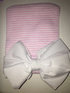 Pink with white satin bow Newborn Oversized Bow Hat
